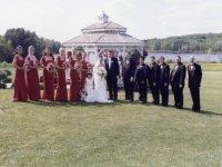 outdoor wedding entourage by the gazebo