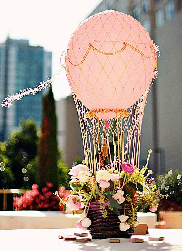 Wedding reception decoration ideas wedding reception decorations hot air balloon wedding centerpiece junglespirit Choice Image