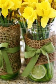 mason jar vase for spring wedding