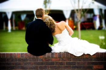 outdoor wedding with wedding tent