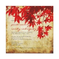 red maple leaves fall wedding invitation