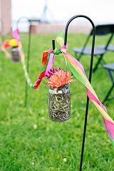 mason jar wedding aisle decoration