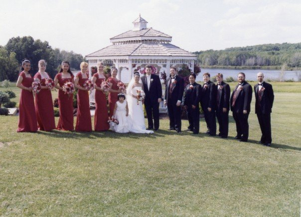 outdoor wedding entourage by the gazebo