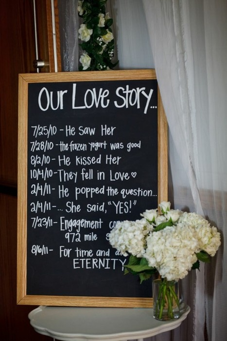 love story wedding sign